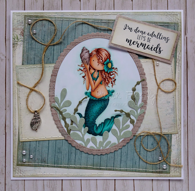 Handmade card using Tiny Townie Mermaid by Stamping Bella