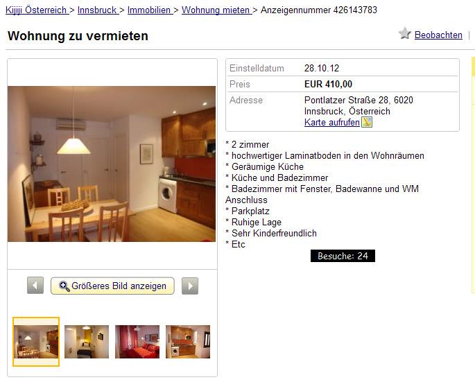 Wohnung zu vermieten Pontlatzer Strae 28  Informationen