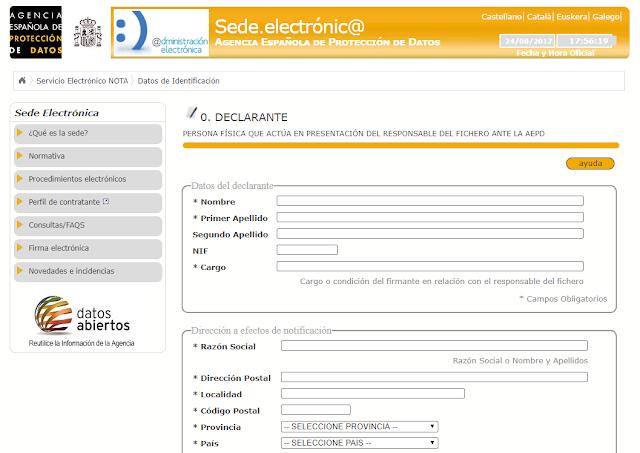 Formulario registro ficheros datos LOPD