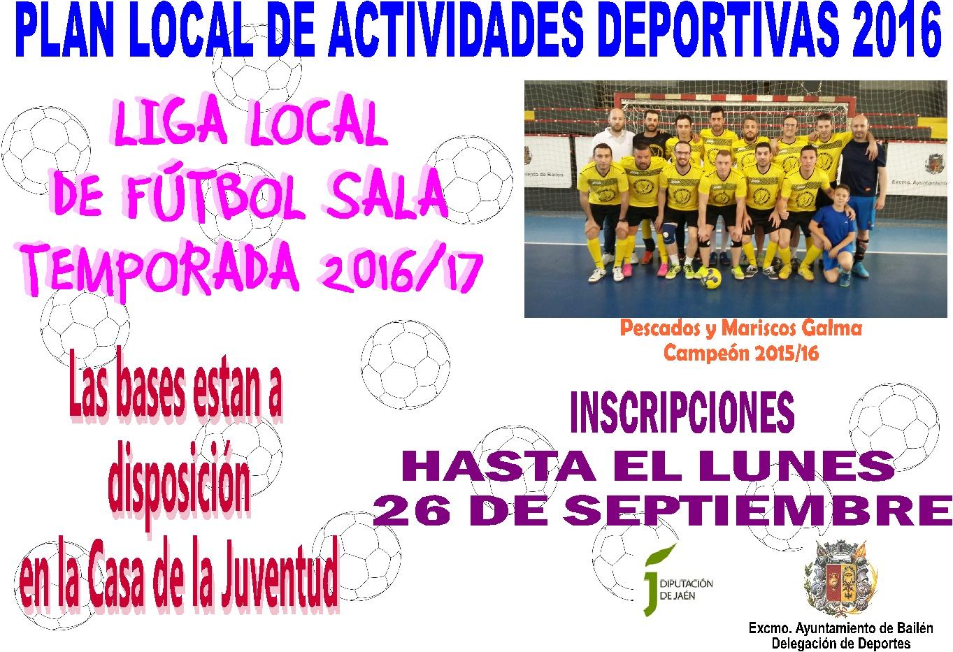 Bail n deporte liga local de f tbol sala temporada 2016 17 for Federacion de futbol sala