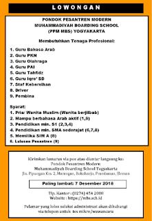 Lowongan Guru dan Staf di Muhammadiyah Boarding School Yogyakarta