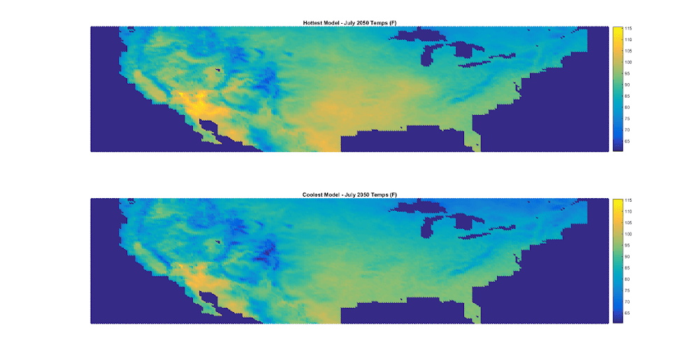 Spread in global warming model projections by latitude and longitude