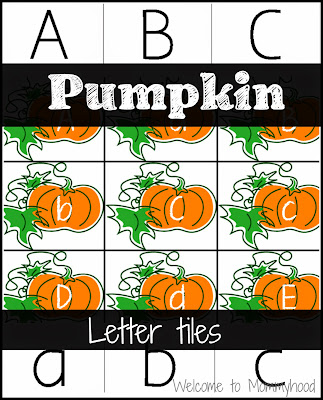 Preschool pumpkin activities: pumpkin letter matching {Welcome to Mommyhood}