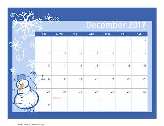 Free Printable Calendar December 2017