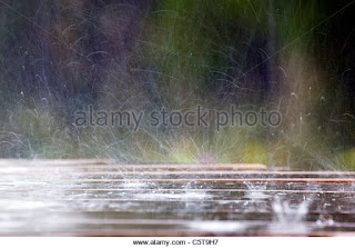Raindrops hitting a picnic table; Cornwall;UK (Credit: Alamy) Click to Enlarge.
