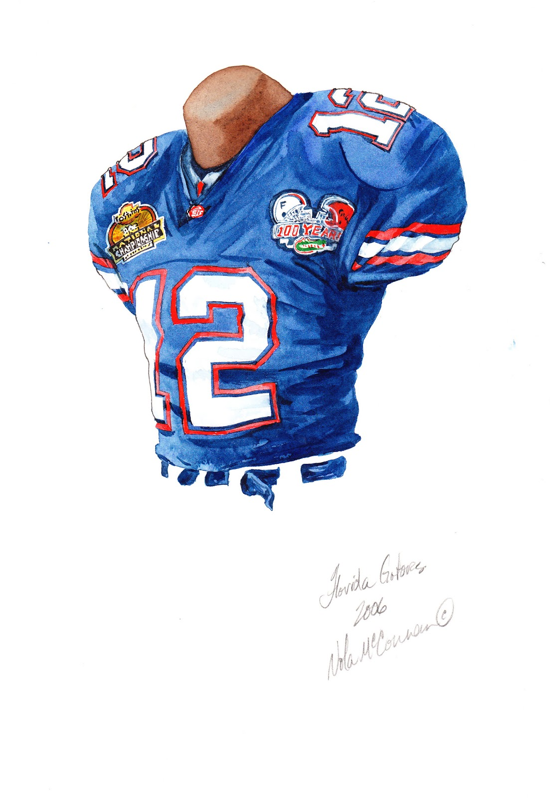 eee91eb04 2006 University of Florida Gators football uniform original art for sale