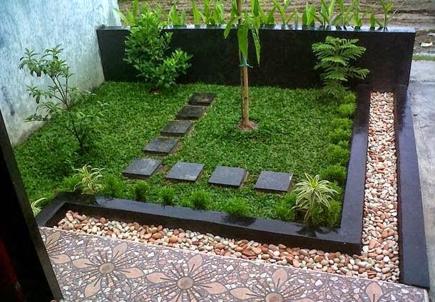 65 desain taman depan rumah mungil minimalis for Small garden house design