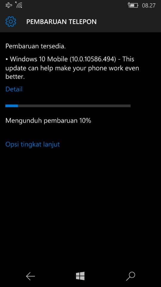 Gambar Pembaharuan Windows 10 Mobile Build 10586.494