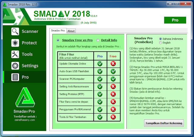 Serial Key Smadav 2018 rev 12.0.1 terbaru berhasil Registrasi Pro
