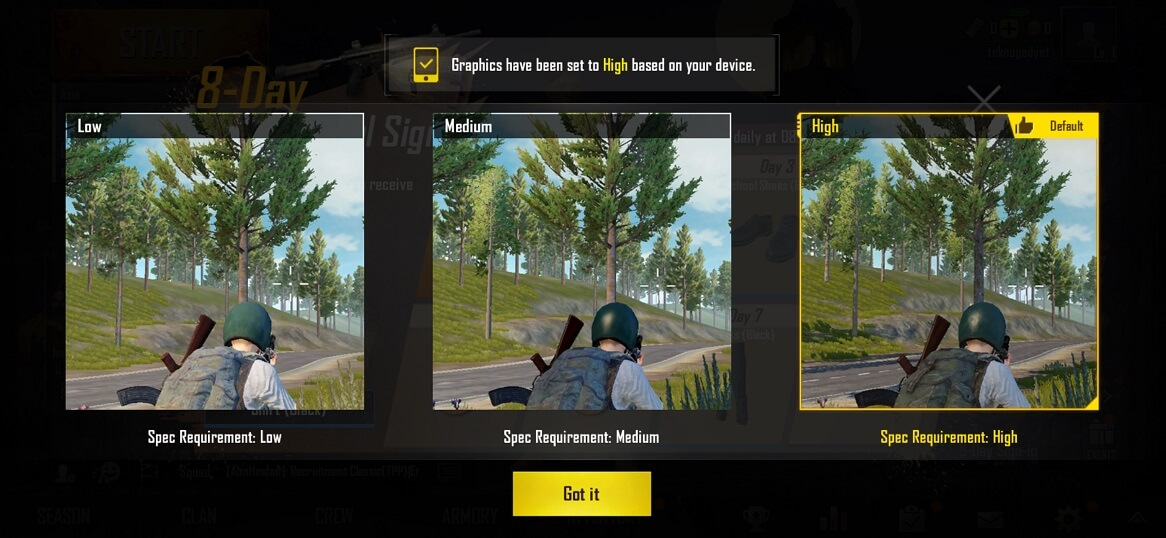 OPPO R17 Pro PUBG Graphics Settings