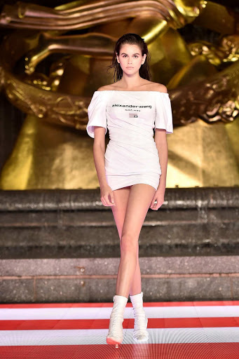Kaia Gerber walks the runway during the Alexander Wang Collection 1 Fashion Show at Rockefeller Center in New York City
