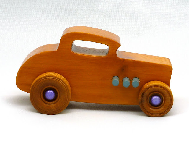 Right Side - Wooden Toy Car - Hot Rod Freaky Ford - 32 Deuce Coupe - Pine - Amber Shellac - Metallic Purple Hubs - Gray Exhaust