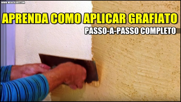 aplicação do grafiato na parede