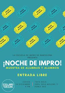 Cartel de la muestra de diciembre 2017 Escuela de Impro de Barcelona