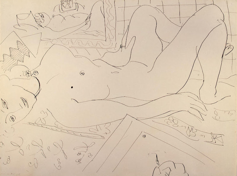 Reclining Nude (The Painter and his Model) by Henri Matisse - Nude Drawings from Hermitage Museum