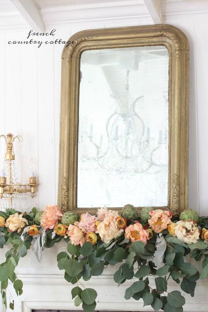 French Country Fridays-  fresh flower autumn mantel decor