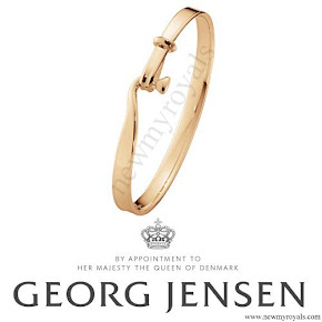 Crown Princess Mary style Georg Jensen Torun Cuff Gold Bracelet