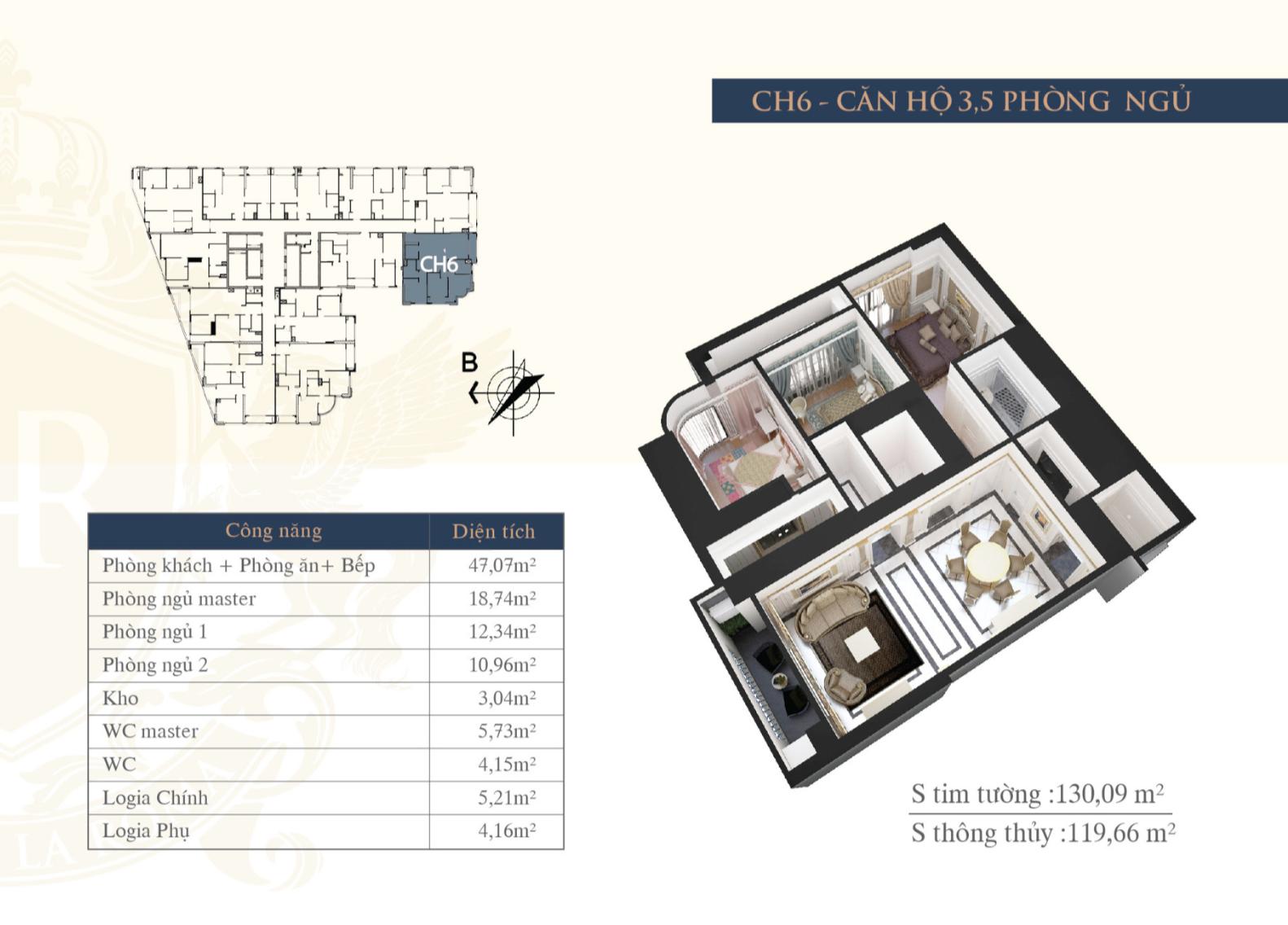 Chi tiết căn hộ Hateco La Roma - CH6