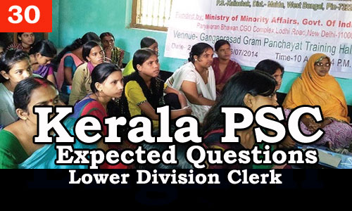 Kerala PSC - Expected/Model Questions for LD Clerk - 30
