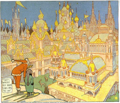 A Little Nemo comic panel depicting a Santa's workshop exterior.