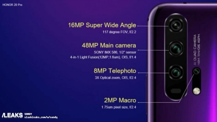 Alleged Honor 20 Pro Camera Setup