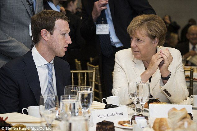 Angela Merkel dining with Mark Zuckerberg