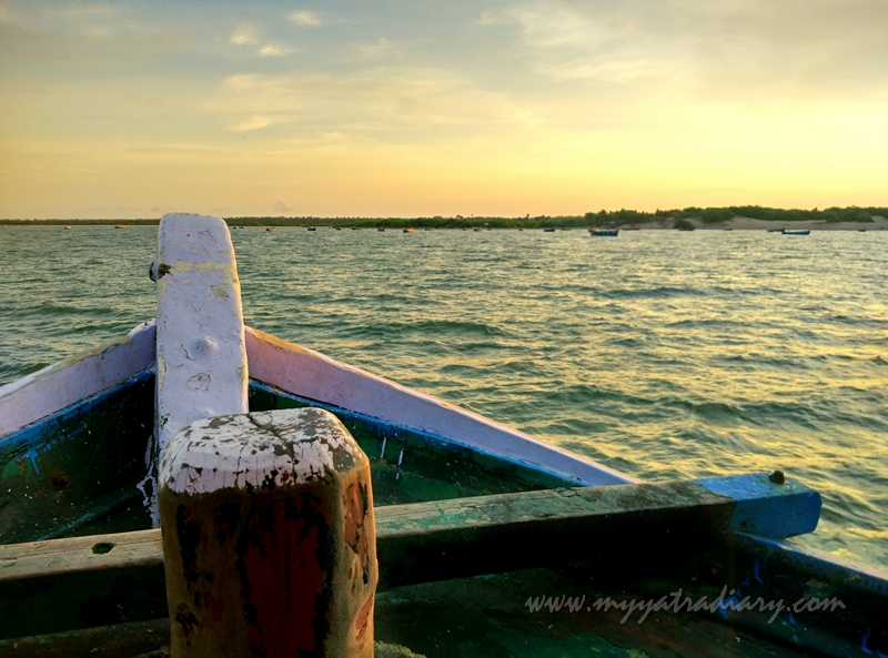 Boat moving on during boat ride in Rameswaram, Tamil Nadu