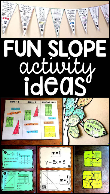 Fun Activities for Learning and Teaching Slope in middle and high school algebra