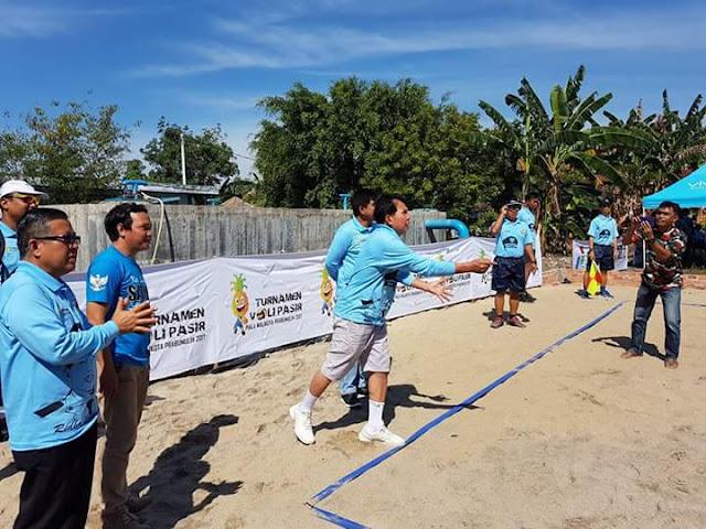 Turnamen Volly Pantai KNPI Di Buka Walikota Prabumulih