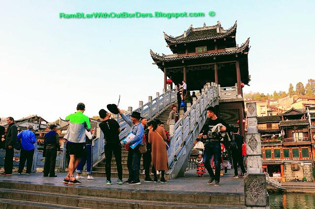 Two leveled bridge, Riverside, Phoenix Fenghuang County, Hunan, China
