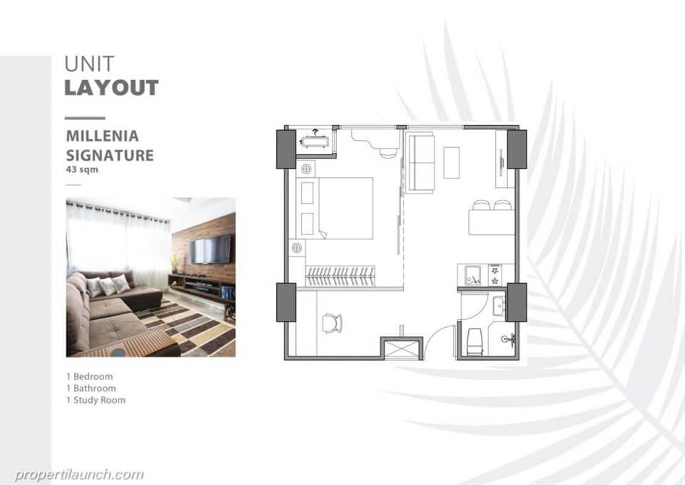 Unit Layout Apartemen The Burj Alam Sutera tipe Millenia Signature