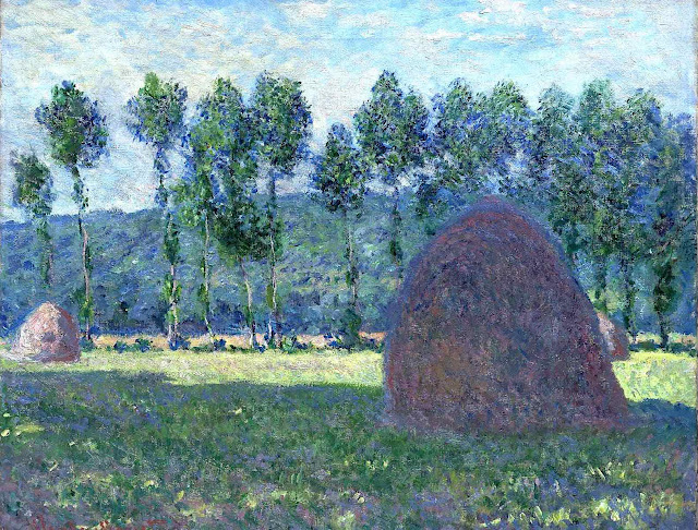 a Claude Monet 1885 painting of hay stacks
