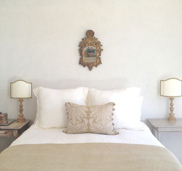 A tranquil bedroom with minimal decor and slow living vibe by Giannetti Home - found on Hello Lovely