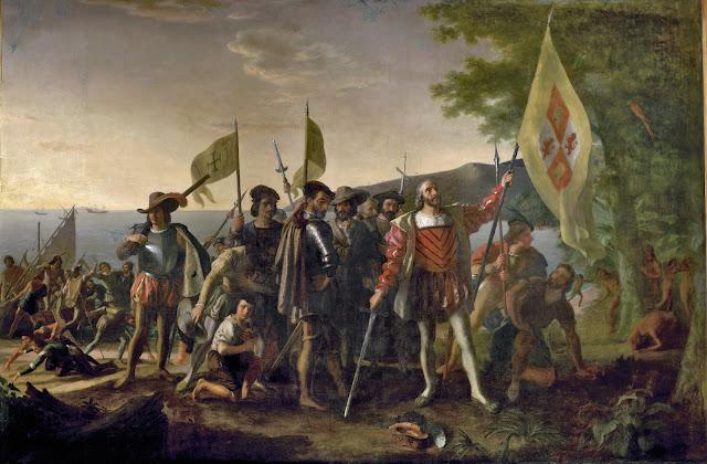 Tranh vẽ cuộc đổ bộ của Columbus trên một hòn đảo được người bản địa gọi là Guanahani và được ông gọi là San Salvador vào ngày 12 tháng 10 năm 1492. Ông dựng cột cờ Hoàng gia Tây Ban Nha, tuyên bố sự bảo trợ của Tây Ban Nha cho vùng đất này. Những người thổ dân sợ hãi đứng quan sát từ sau những bụi cây. Tranh vẽ bởi John Vanderlyn.