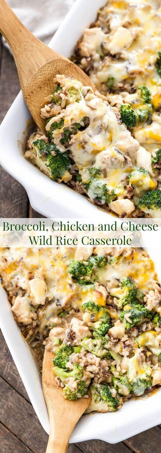 BROCCOLI, CHICKEN AND CHEESE WILD RICE CASSEROLE