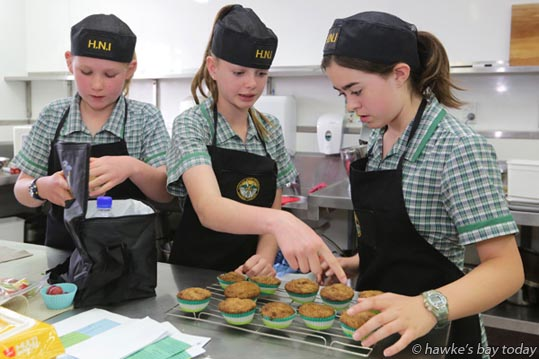 L-R: Sienna Wall, Brooke Curran, Ella Leary, Havelock North Intermediate School, Havelock North, winners of the intermediate competition - Life Education Healthy Lunchbox Competition run by Life Education Hawke's Bay Trust at EIT Eastern Institute of Technology School of Hospitality, Taradale, Napier. photograph