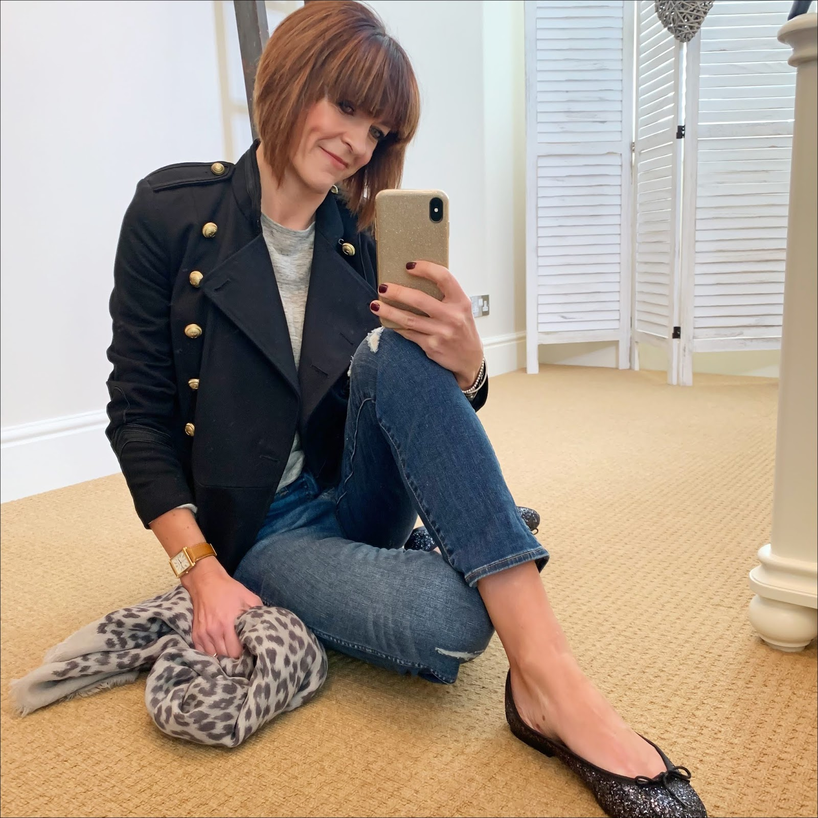my midlife fashion, j crew vintage straight jean in rip and repair, isabel marant etoile military jacket, alexander wang linen t shirt, massimo dutti leopard print scarf, french sole henrietta glitter ballet pumps