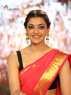 Kajal Agarwal in Red Saree Sleeveless Blouse Stunning Pics  Exclusive Galleries 007.jpg
