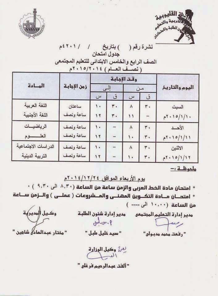 جداول امتحانات فرق ابتدائى الترم الأول 2015 لمحافظة القليوبية 9443_655502344567353