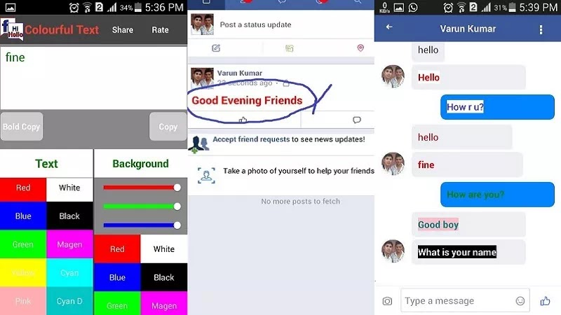 Facebook Tool Colorful Text Post Comment and send Message