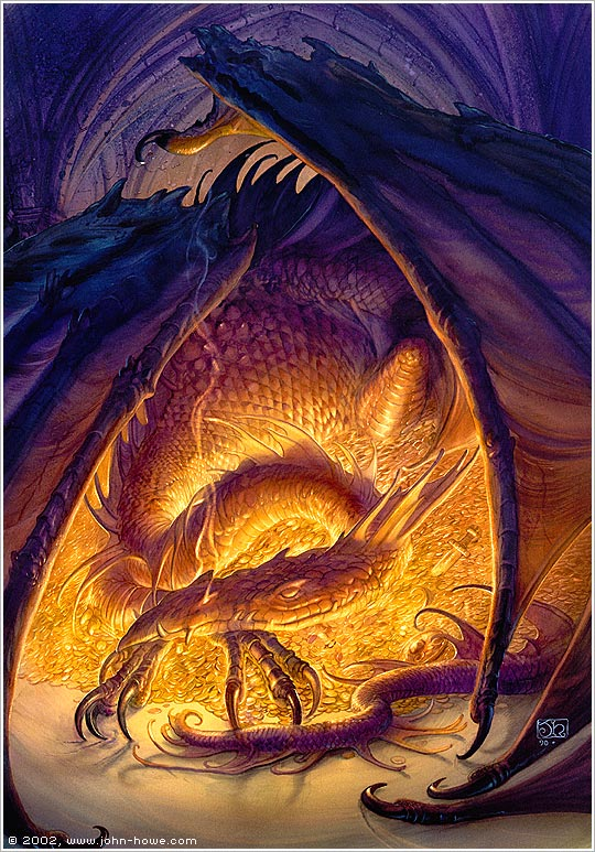 "John Howe -- Smaug from Tolkien's ""The Hobbit"""