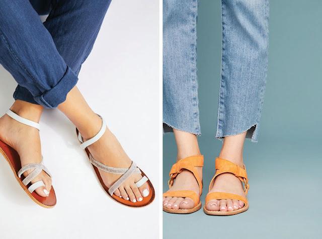 Минималистские сандалии с поперечным ремешком на щиколотке