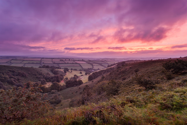 Sunrise image of The Punchbowl in Exmoor National Park by Martyn Ferry Photography