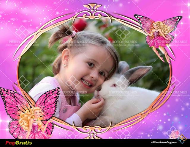 Adorable portaretrato para hacer fotomontajes de Barbie Mariposa