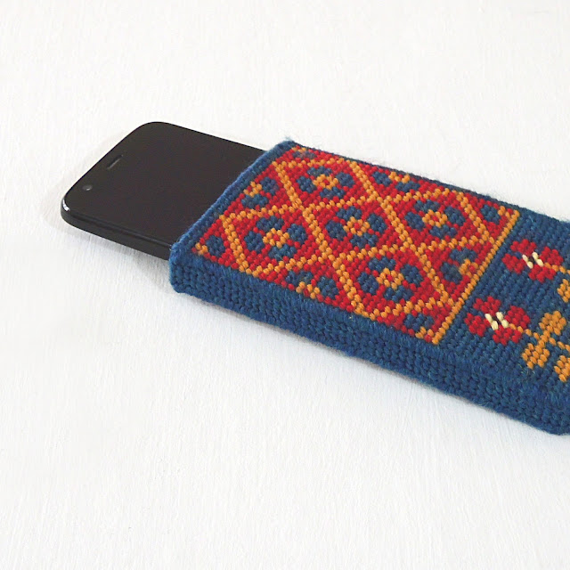 Phone in a Fairisle Phone Pouch made from Wool and Plastic Canvas