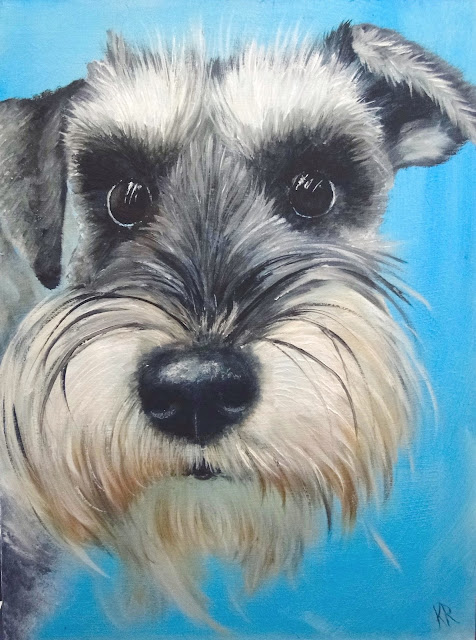 Oil painting of a Miniature Schnauzer