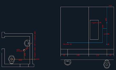 No projeto das instalações hidrossanitárias, o detalhamento do lavabo para pessoas com necessidades especiais, visto em planta baixa para o esgoto, e elevação para alimentação das peças.