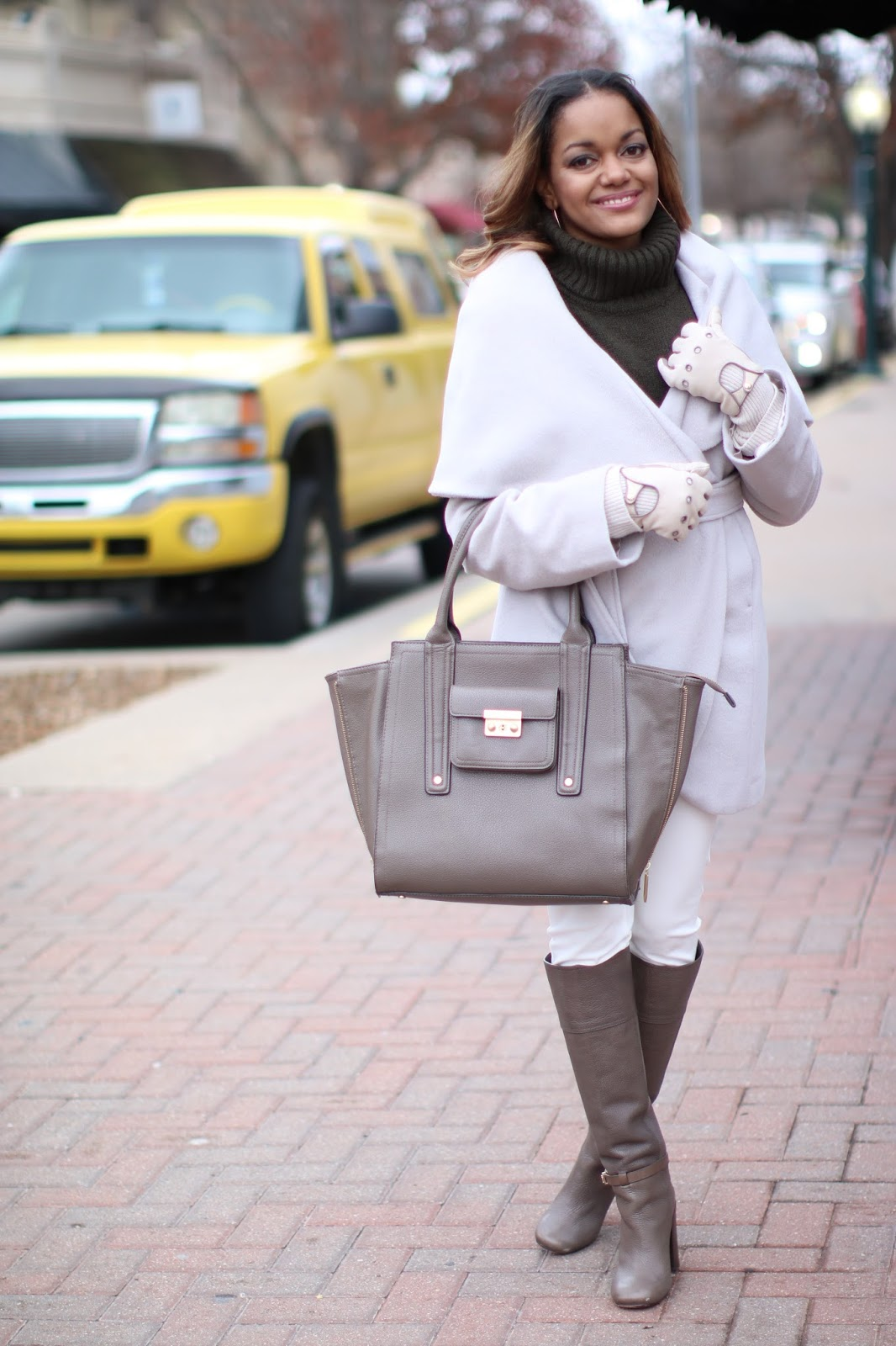 tahari shawl collar coat, shawl collar coat, olivia pope style,henri bendel moto gloves, philip lim for target handbag, tory burch boots, taupe boots, wear white in winter, winter fashion, fashion blogger, dallas blogger, black girl blogger, how to wear neutrals