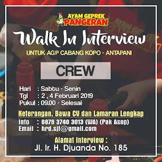 Lowongan Kerja Ayam Geprek Pangeran Bandung  2019 Terbaru