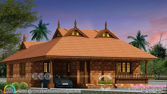 2 bedroom Tradition Kerala home with Nadumuttam